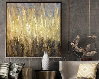 Golden Leaf, Original Painting Gold Black Wall Art, Luxury Painting for Modern Decor, Abstract Gold Leaf Art, Framed Art by Julia Apostolova
