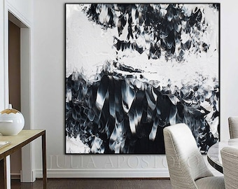 Extra Large Wall Art   Modern Wall Art   Black White Painting   Abstract Painting   Contemporary Art   Large Canvas   Art for Modern Decor