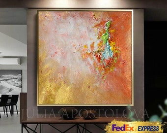 Minimalist Painting, Cooper and Gold Abstract Painting, Textured Canvas, Gold Painting, Home Office Decor, Large Art 'The Sound of Sunshine'