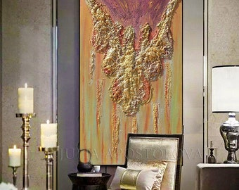 ORIGINAL Painting, Gold Painting, Abstract Gold Art, Unique Artwork, Luxury Art, Copper Art, 3D WALL ART & Heavy Textures by JuliaApostolova