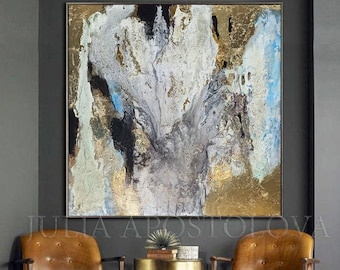 Large Abstract Oil Painting Original Art, Gold Leaf Fall Painting, Gold Wall Decor, Texture Wall Art, Modern Living Room & Office Painting