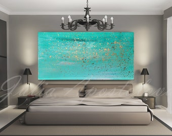 Great Turquoise Painting, Minimalist Painting, Print, Wall Art, Turquoise Home  Decor Art, Turquoise And Gold Abstract, Beach Art, Watercolor Print