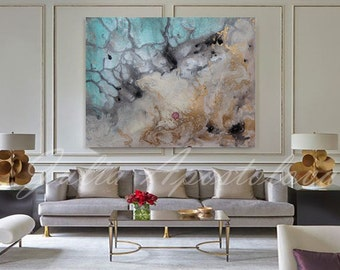 Water color painting, Art Print, Abstract Watercolor, Large Wall Art, Seascape, Turqoise, Gold, Beach Nautical Decor, ''Iceland from Above''