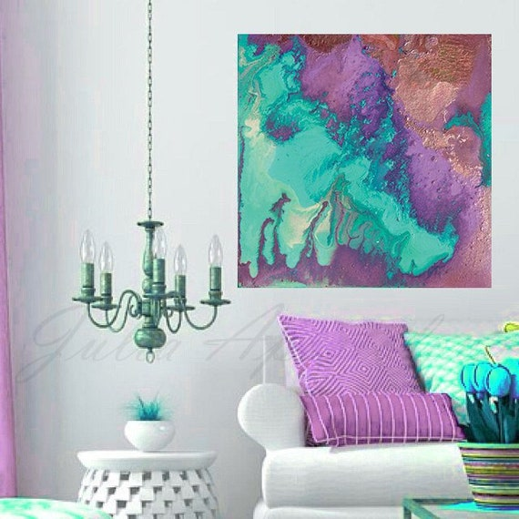Watercolor Canvas Abstract Painting Nautical Wall Decor Turquoise And Purple Copper Large Abstract Print On Canvas By Julia Apostolova