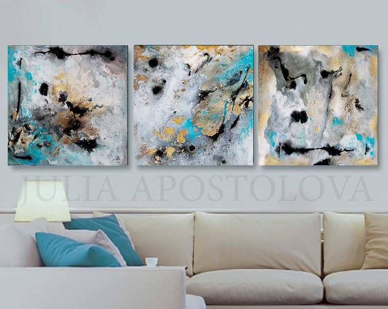 120 Extra Large Wall Art Set Of 3 Paintings Gold Leaf Abstract Watercolor Canvas Gray Black Gold Teal Turquoise Print Art For Huge Space