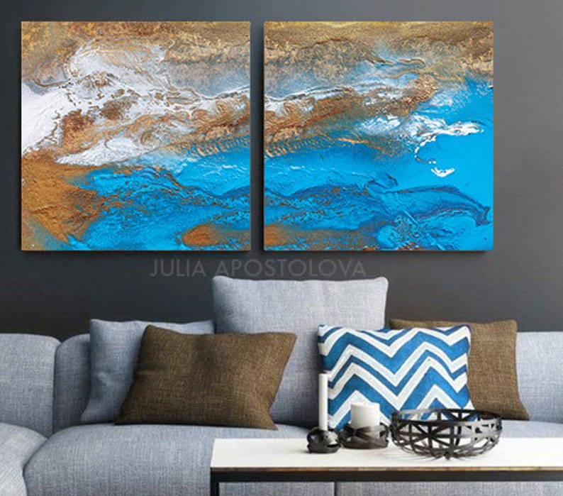 Two Ocean Paintings Blue Large Wall Art Set Of 2 Canvas Prints Abstract Painting Extra Large Wall Art Coastal Landscape Contemporary Art