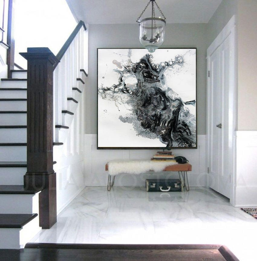 45x45inch Black And White Watercolour Painting Abstract