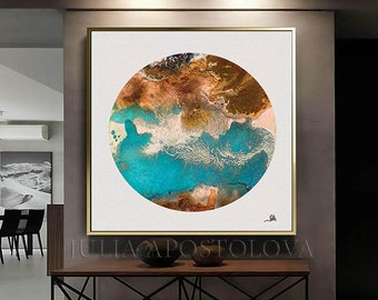 Large Wall Art, ABSTRACT PAINTING, Large Canvas Print, Circle Abstract Art, Modern Painting, Contemporary Wall Art Decor, Office Wall Decor
