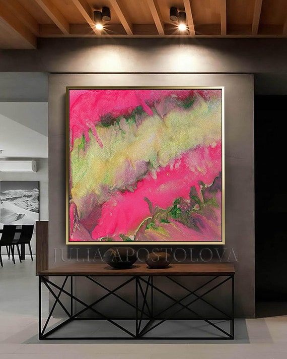 Pink Gold Painting Canvas Print Floater Frame Shoals Abstract Wall Art Modern Bright Pink Watercolor Flowing White Nursery Large Wall Art