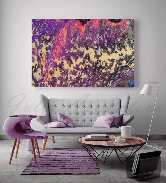 Modern Grey And Purpleliving Room: Large Wall Art Purple Abstract Painting Print Acrylic