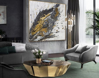 47'', White Black Gold, ORIGINAL PAINTING with Gold Leaf & Silver Leaf, Extra Large Abstract, Sparkle Art for Contemporary and Luxury Decor