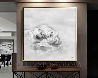 Minimalist Art, Cloud Painting, Modern Wall Art on Canvas, Gray Abstract Minimalist Painting, White Art for Office Decor & Winter Wall Decor