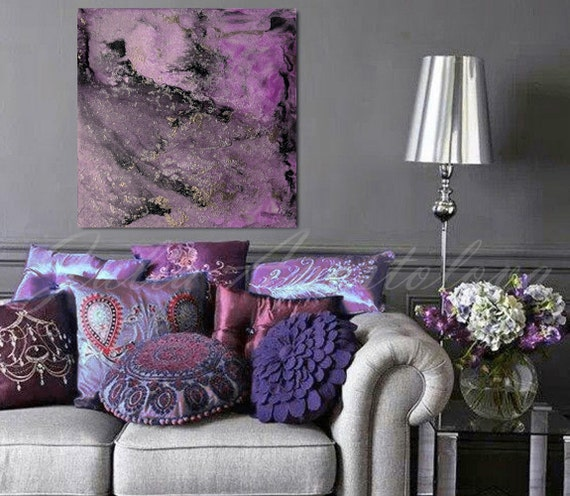Purple and Black Large Wall Art Abstract Painting Canvas   Etsy