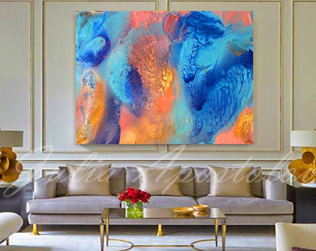 Turquoise and orange teal decor abstract painting - Orange and teal decor ...