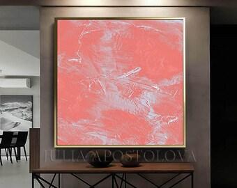 Large Wall Art   Minimalist Painting   Coral Art   Abstract Painting   Pastel Art   Boho   Canvas   Minimal   Framed Art by Julia Apostolova