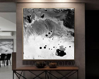 Modern Wall Art   Watercolor Painting   Black White Canvas   Large Wall Art   Abstract Painting   Large Print   Minimalist   Wall Art Decor