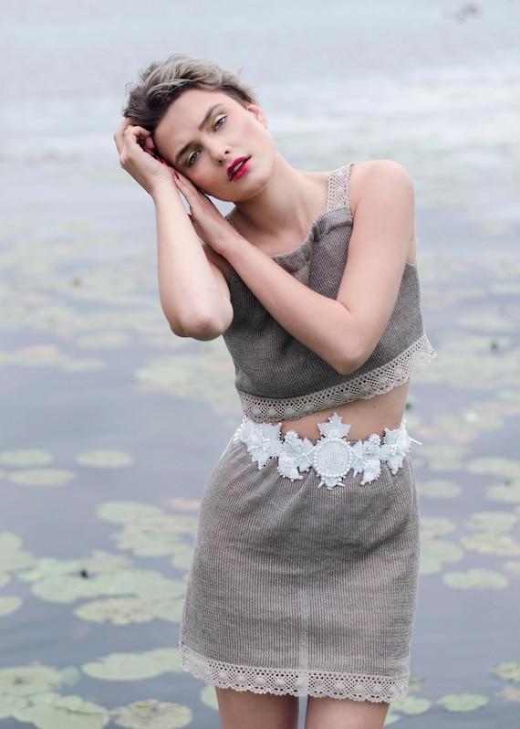 Vestito gonna di lino naturale maglia abito di lino festival  2a329ce94861