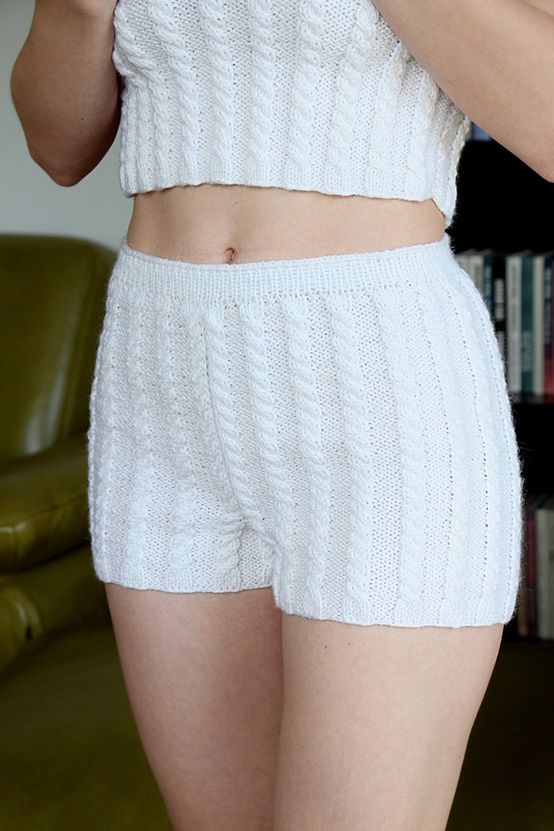 7fc2818af3a5eb Knit pajama white shorts knitted shorts knit underwear | Etsy