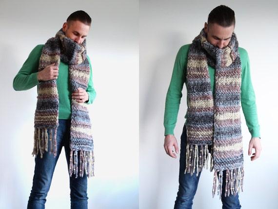 Grosse écharpe extra longue pour hommes accessoires   Etsy 323d5154372