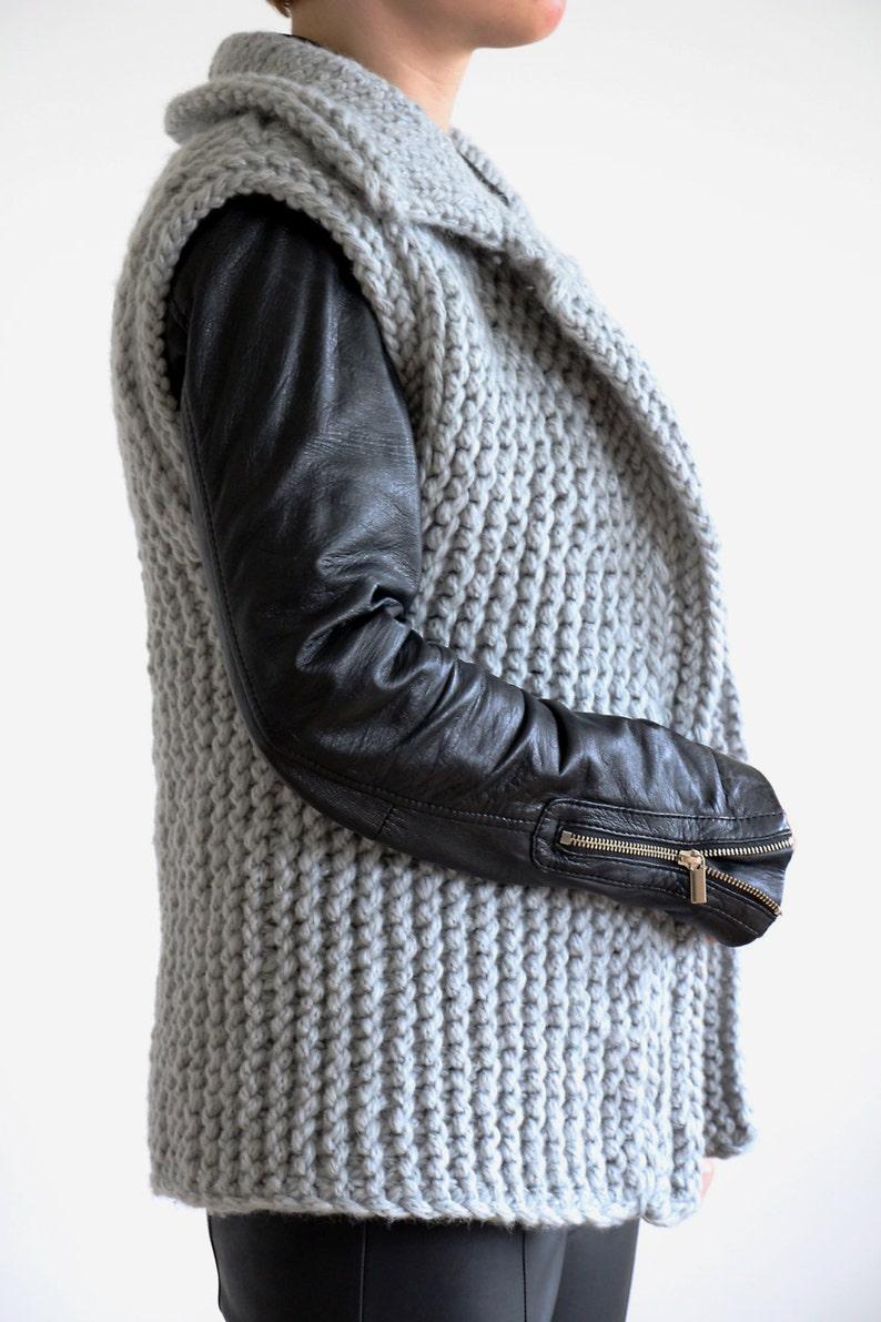 sleeveless waistcoat thick winter vest bulky knit vest Chunky knit vest vest sweater open knit cardigan gray knit vest knit jacket