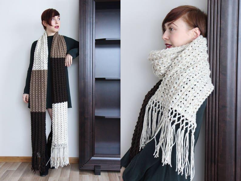 ab4986d9916 Brown chunky tricot écharpe extra longue écharpe écharpe en