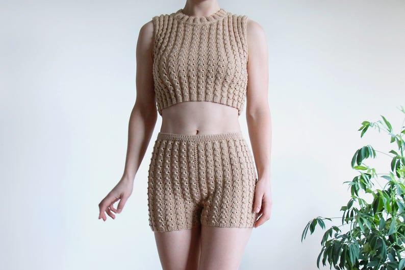 e374275c5f537f Hand knit crop top in beige color unisex knitwear top wool | Etsy