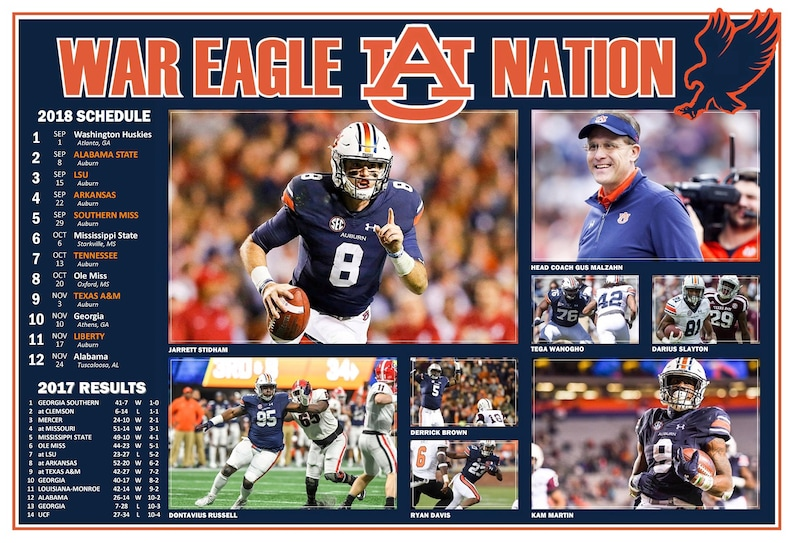 new arrival 0f241 9175e Auburn Tigers 2018 Pictorial Football Schedule Poster