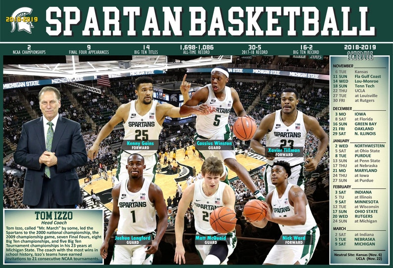 The 2018 19 Michigan State Spartans Pictorial Basketball Schedule Poster
