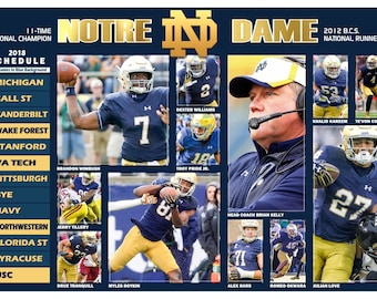 Notre Dame Fighting Irish 2018 Pictorial Football Schedule Poster
