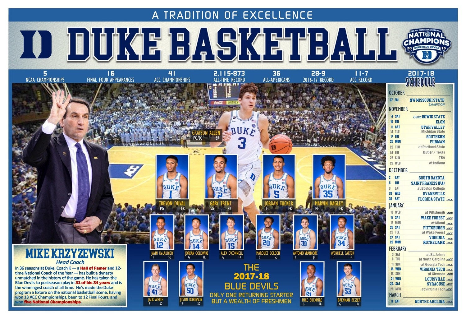the 2017-18 duke blue devils pictorial basketball schedule | etsy