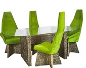 Rare Brutalist Dining Table Chairs by Adrian Pearsall 1970s