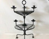 Vintage Wrought Iron Tiered Six Candles Candelabra