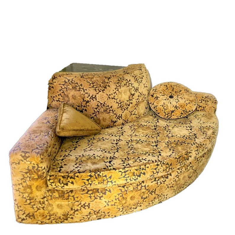 Gold Velvet Damask Round Corner Loveseat with Built In Table
