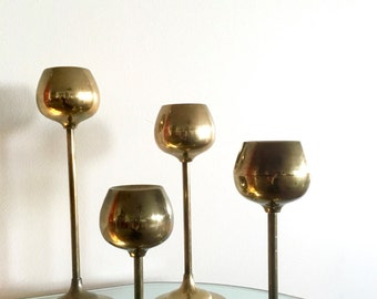 Tall Mid Century Modern Brass Candle Holders