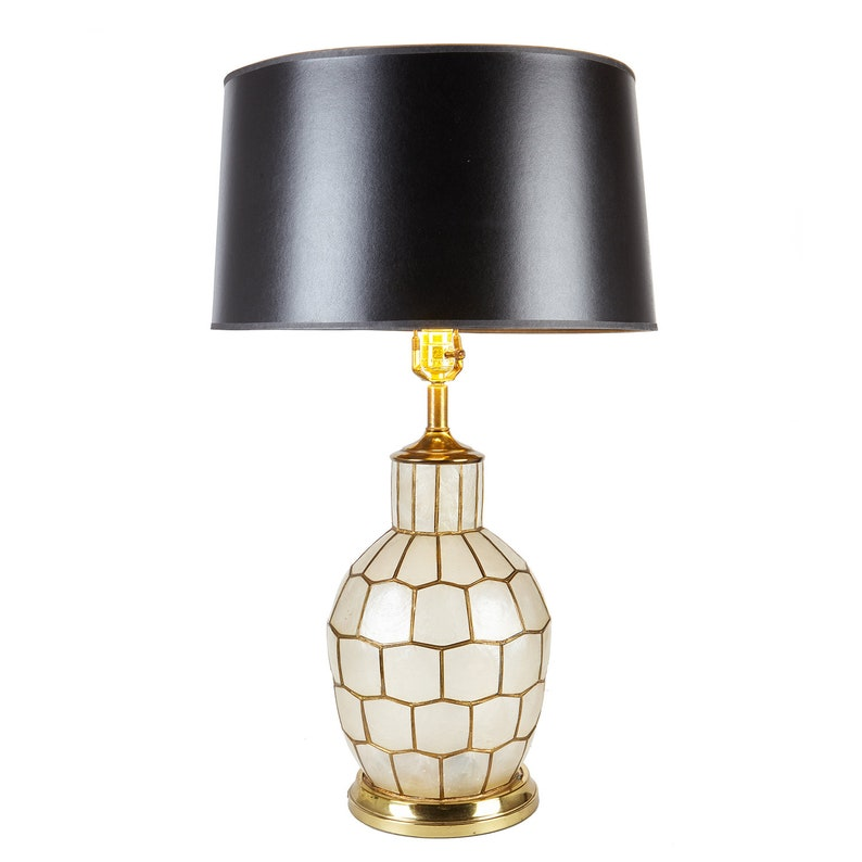 PAIR Capiz Shell Table Lamps With Interior Accent Light