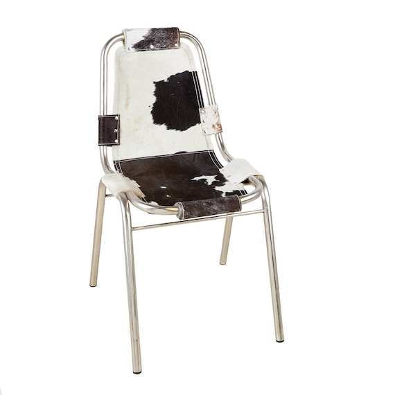 Groovy Set Of Four Modernist Aluminum Sling Chairs With Cowhide Seats Cassina Style Squirreltailoven Fun Painted Chair Ideas Images Squirreltailovenorg