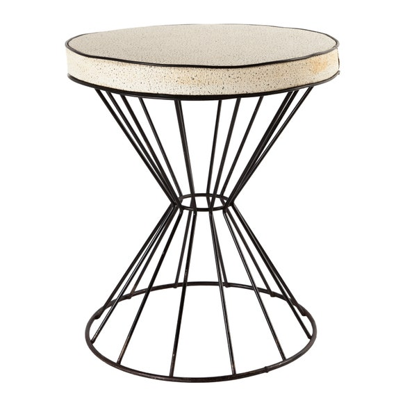 Groovy Mid Century Modern Wrought Iron Wire Stool By Frederick Weinberg Andrewgaddart Wooden Chair Designs For Living Room Andrewgaddartcom