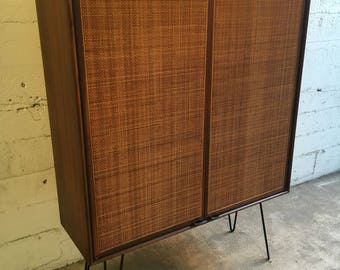 Jack Cartwright Mid Century Founders Rosewood Cane Hutch Cabinet Leather  Pulls