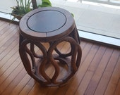 Asian stool barrel side table vintage rustic drum plant stand wooden chicken wing Jichimu wood handmade chair ottoman decorative furniture