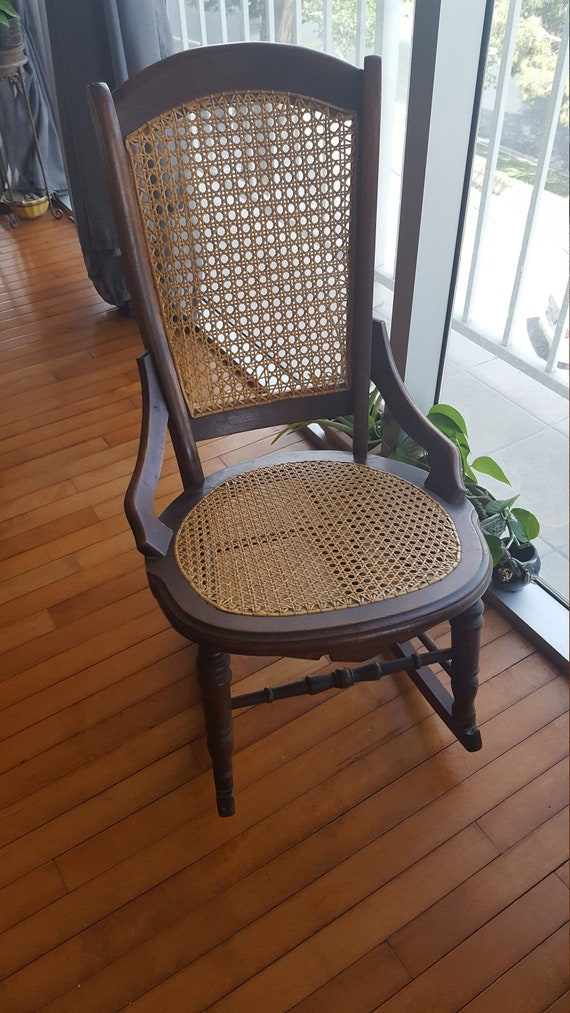 Phenomenal Antique Rocking Chair Cane Back And Seat Victorian Wooden Rocker Walnut Curved Wood Nursing Chairs Sewing Room Childs Rocker Wicker Caning Machost Co Dining Chair Design Ideas Machostcouk