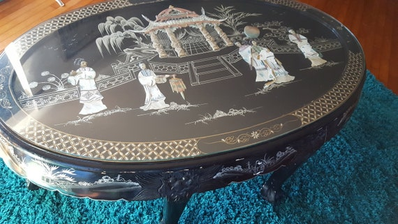 Groovy Glass Top Table Oval Black Lacquer Inlaid Mother Of Pearl Carved Dragon Claw Foot Geisha Temple Wood Coffee Tea Tables Abalone Chinoiserie Cjindustries Chair Design For Home Cjindustriesco