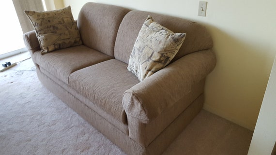 La Z boy sofa sleeper fold out couch bed full mattress overstuffed firm  cushions apartment size furniture davenport living room sand beige