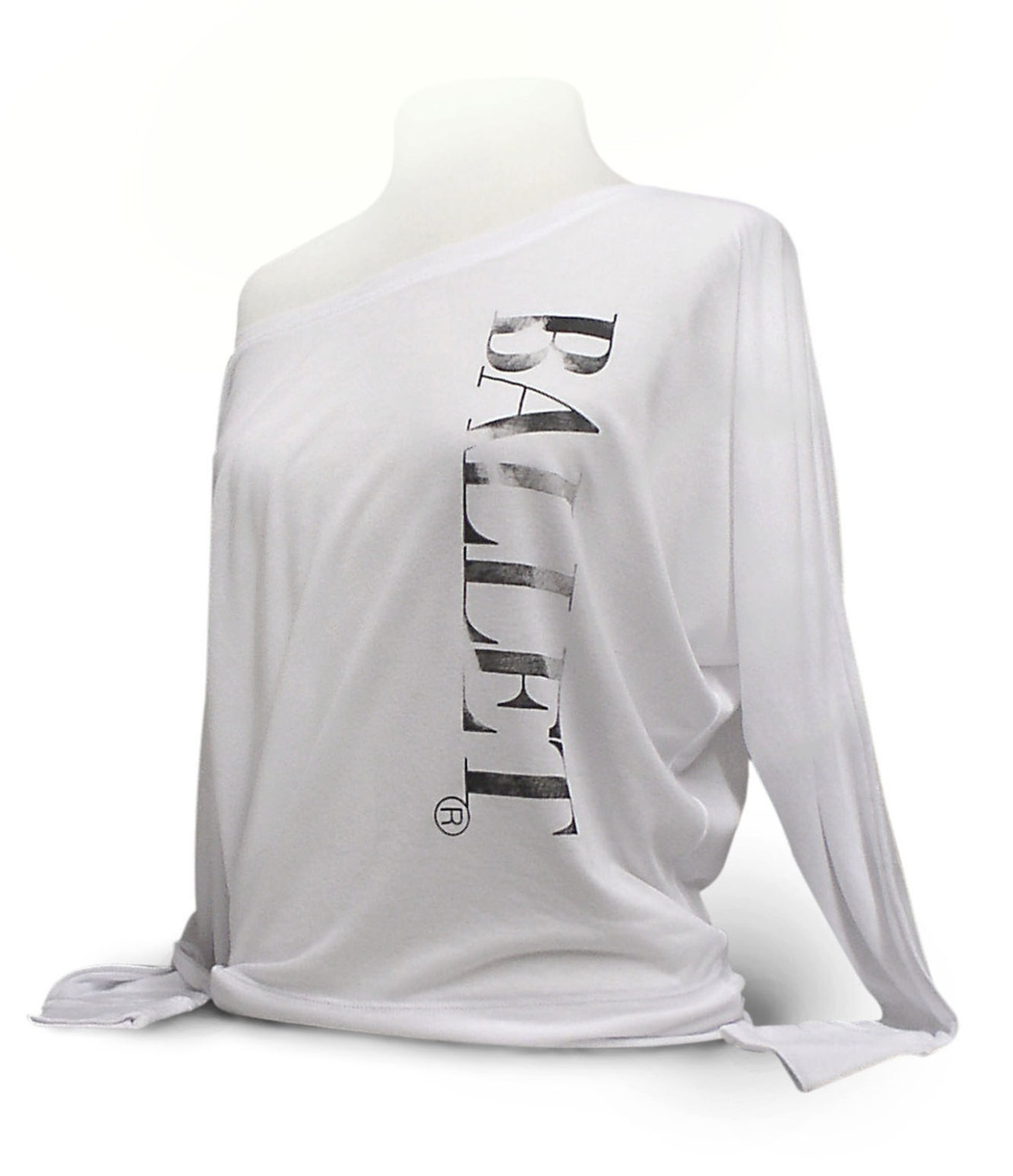 upscale ballet top. ballet shirt. white leotard coverup. flowy long sleeve dance shirt