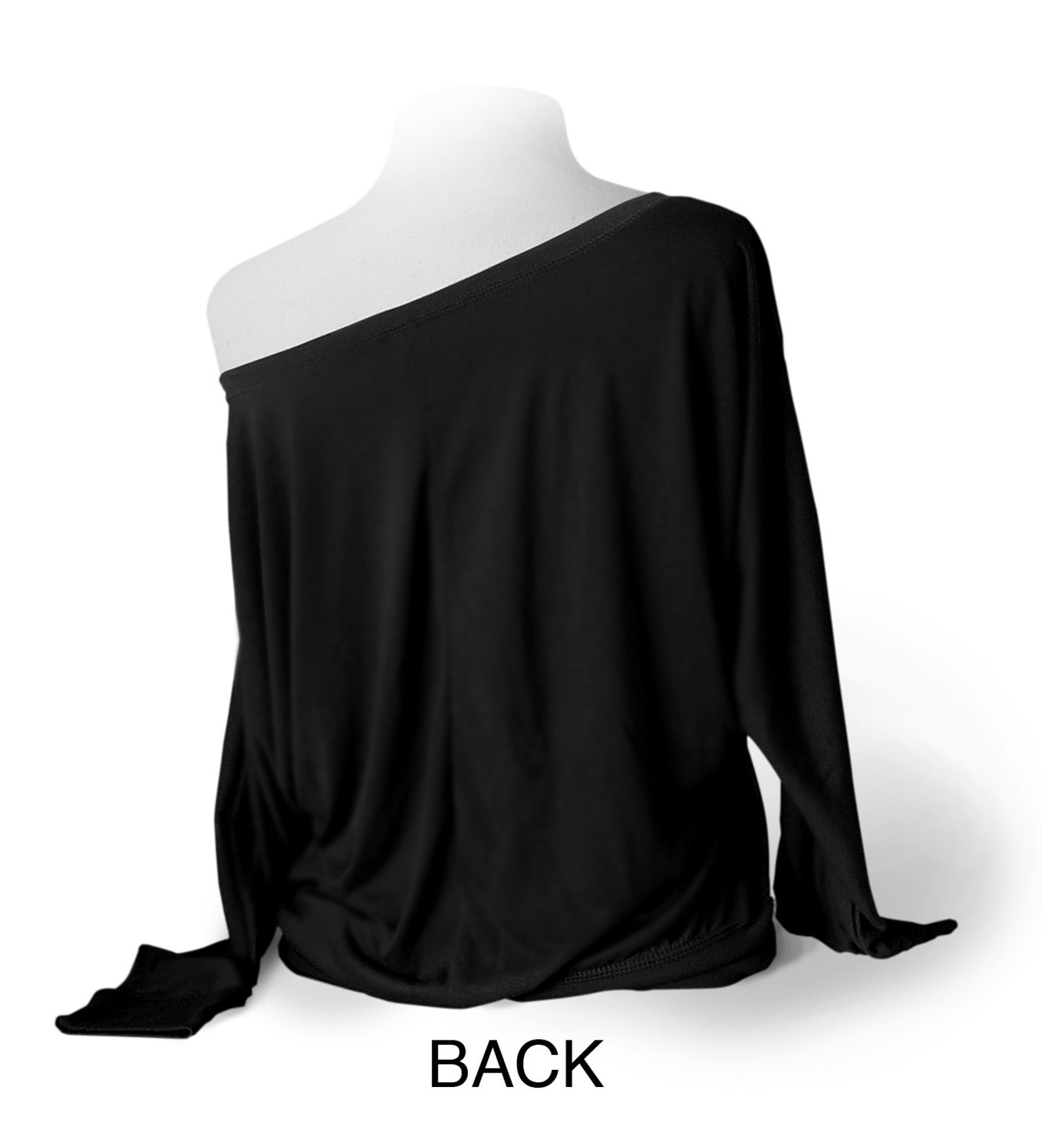 upscale dance shirt - black. long sleeve leotard coverup. flowy soft off-shoulder top for ballet, tap, or jazz dancers.