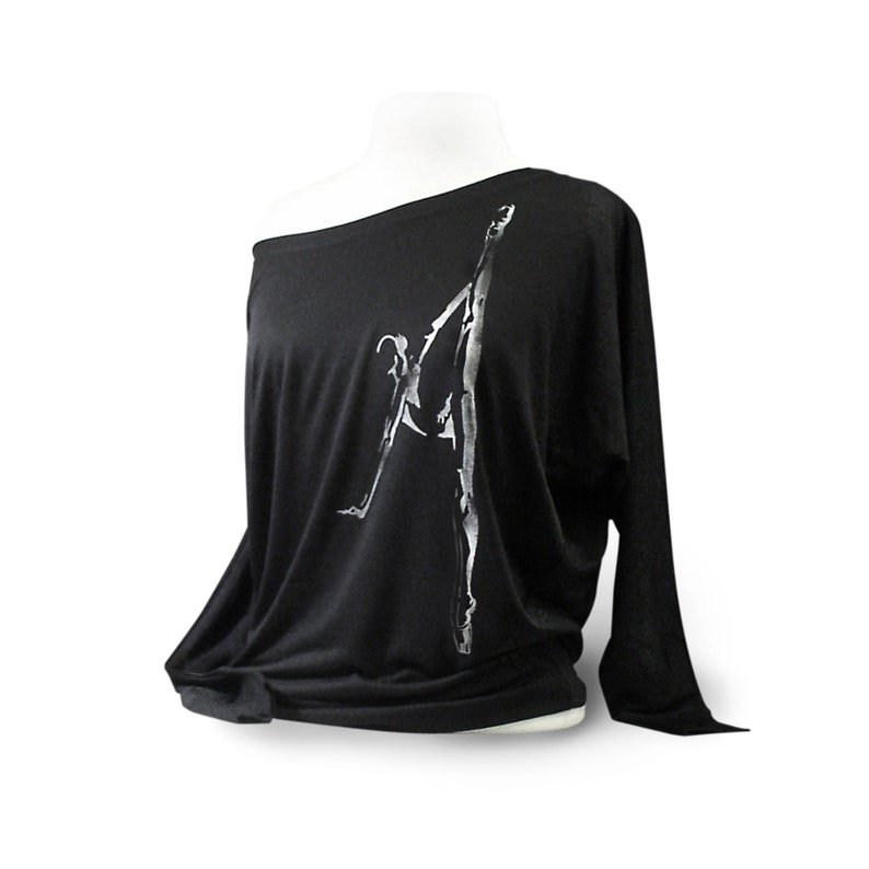 b6e2685189ded9 Leotard Cover. Flowy Black Ballet Shirt Titled Penché | Etsy