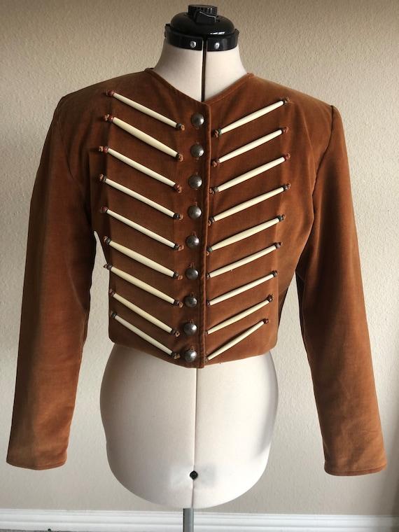 Vtg Double D Ranchwear Rust Velvet Native American