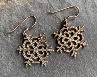 188426305 Pair of J.H. Breakell Sterling Silver Snowflake Earrings