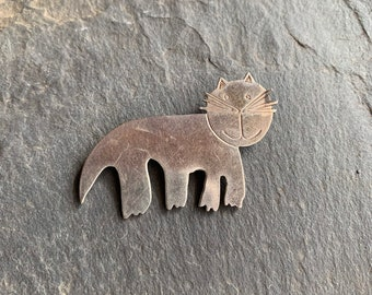 0e9aaccb7 Early J.H. Breakell Sterling Silver Cat Pin Mod Vintage
