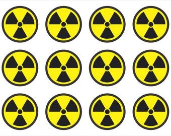 Radiation Nuclear Symbol Set of 4 Window Bumper Sticker BS506010