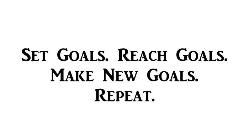 Make New Goals Motivational Inspirational Decal  12.6 X 9  WS517 Reach Goals Repeat Set Goals
